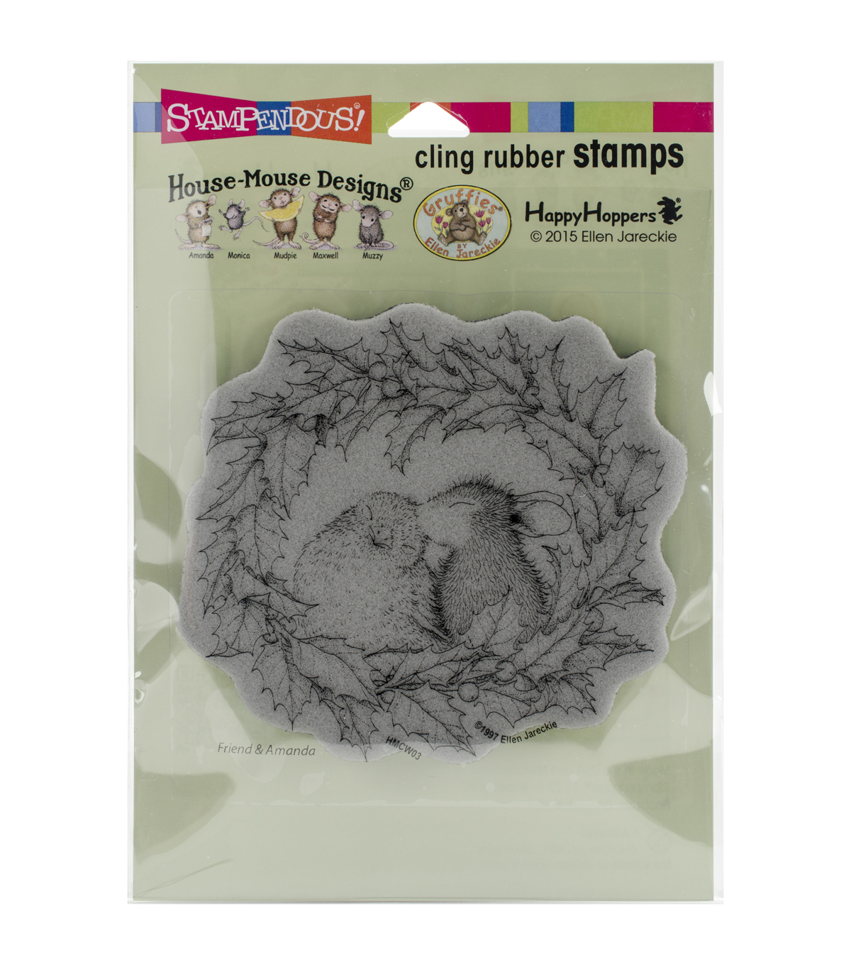 Stampendous® House Mouse Cling Rubber Stamp-Wreath Kiss