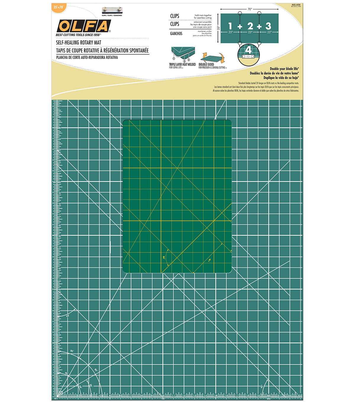 Olfa Gridded Cutting Mat Set with Clips 35\u0022 x 70\u0022