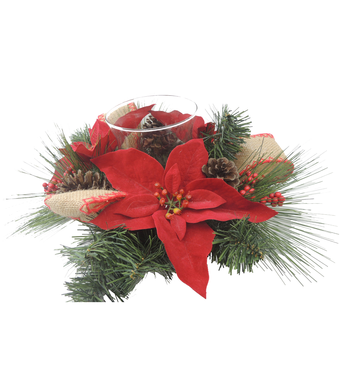 Blooming Holiday 13\u0027\u0027 Poinsettia, Pinecone, Berry & Bow Candle Holder