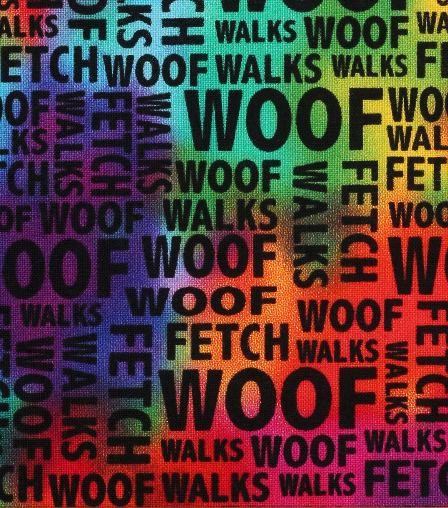 Novelty Cotton Fabric 43''-Dog Words on Tie Dye