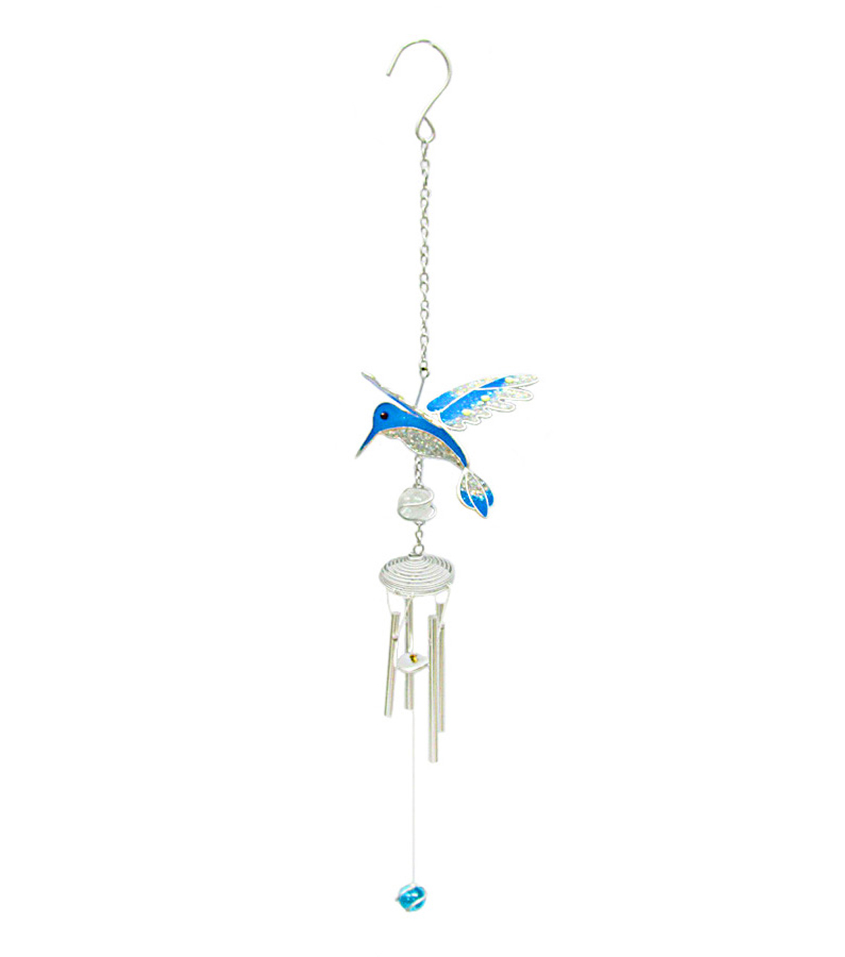 Wild Blooms Mini Wind Chime-Blue Hummingbird