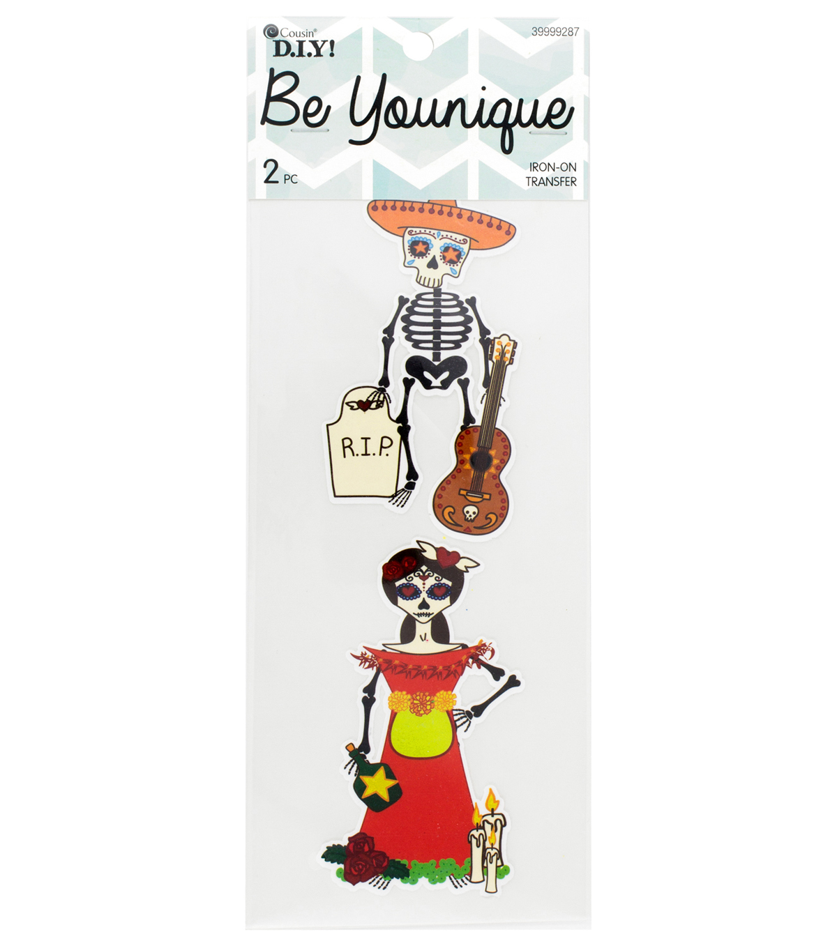 Cousin® DIY Be Younique 2 Pack Sleeve Iron-On Transfer-Skull Couple