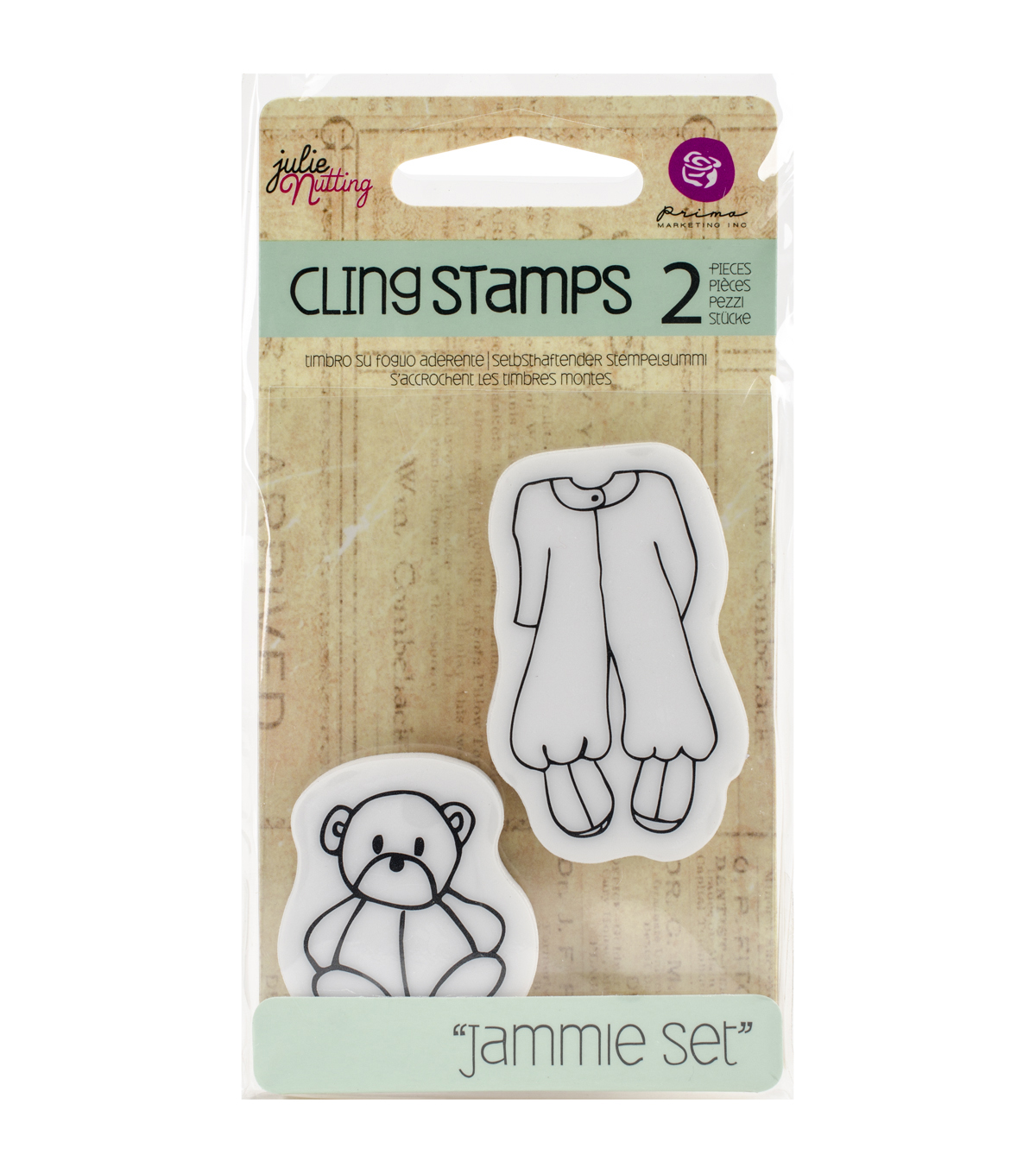 Prima Marketing Julie Nutting Cling Rubber Stamps-Baby Jammie Set