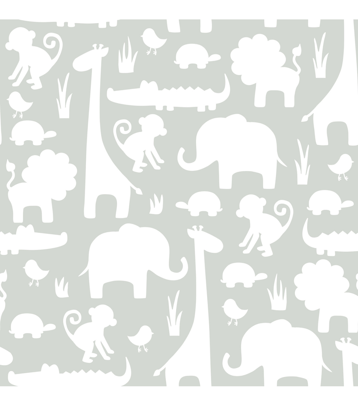 WallPops®NuWallpaper™Gray Its A Jungle In Here Peel And Stick Wallpaper