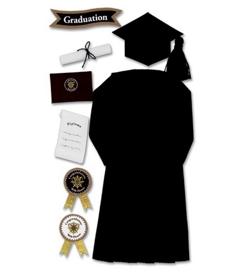 Jolee\u0027s Boutique Le Grande Ornate Stickers-Graduation Cap & Gown/Black