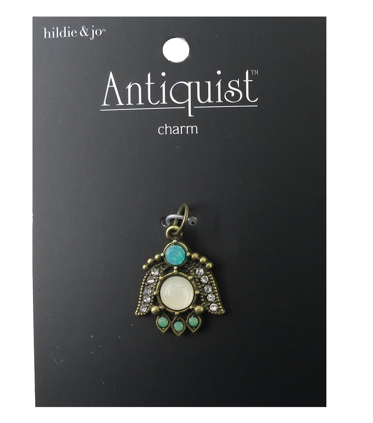 hildie & jo™ Bug Antique Gold Charm-Crystals & Green Stones