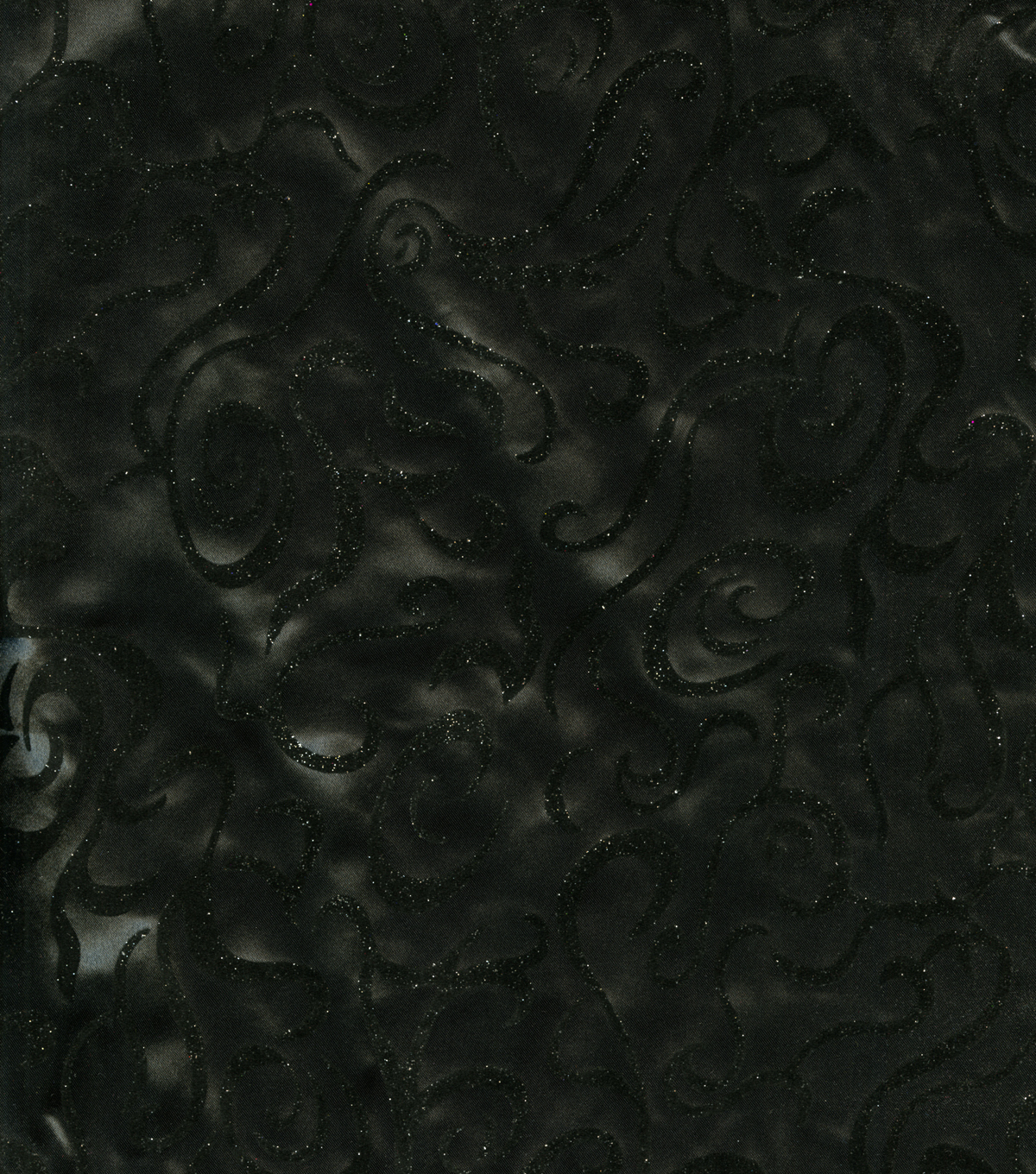 Halloween Fabric-Flocked Scroll Satin Black Fabric