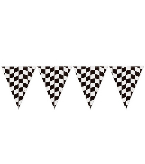"Flag Banner 10""X12'-Black&White Check"