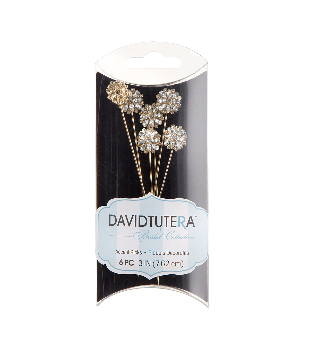 David Tutera Diamond Flower Picks-Gold