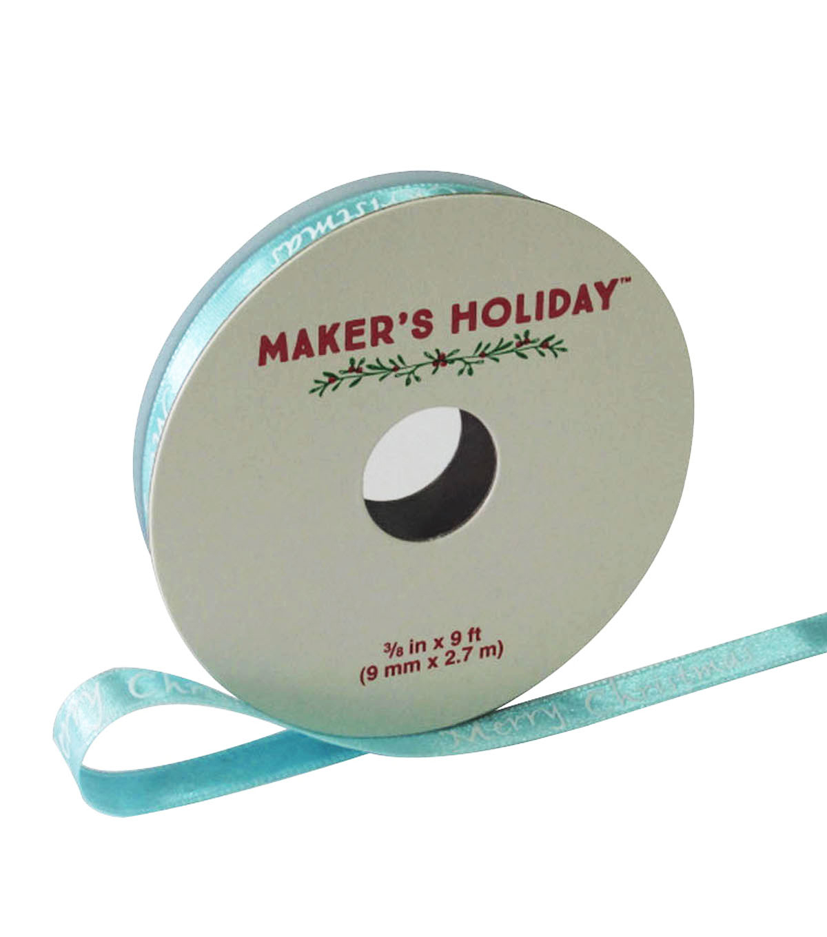 Maker\u0027s Holiday Ribbon 3/8\u0027\u0027x9\u0027-Ice Blue Merry Christmas