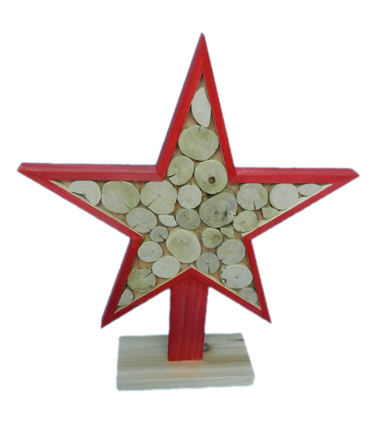 Holiday Cheer Wood Slice Star Table Decor-Red
