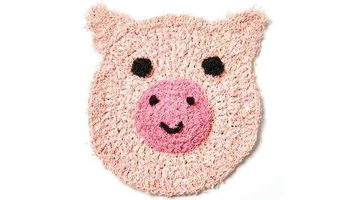Crochet Playful Pig Kitchen Scrubby