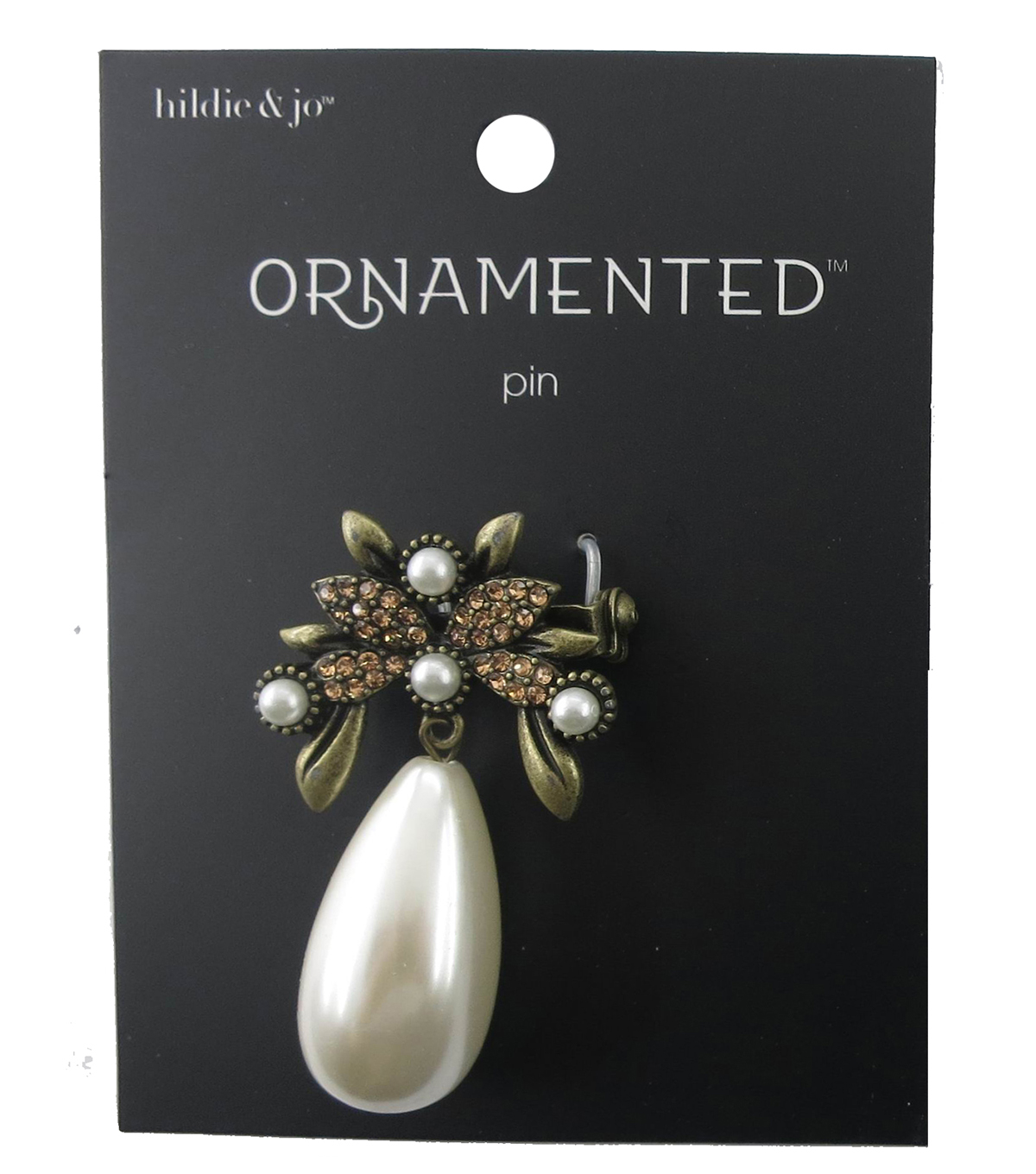 hildie & jo™ Ornamented Antique Gold Pin with Oblong Pearl Dangle
