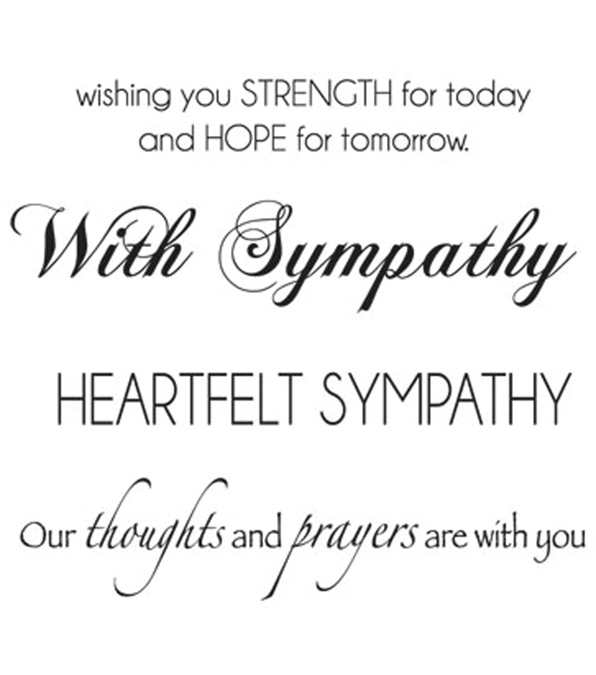 Mini Clear Stamps 3\u0022X5\u0022-Sympathy Words