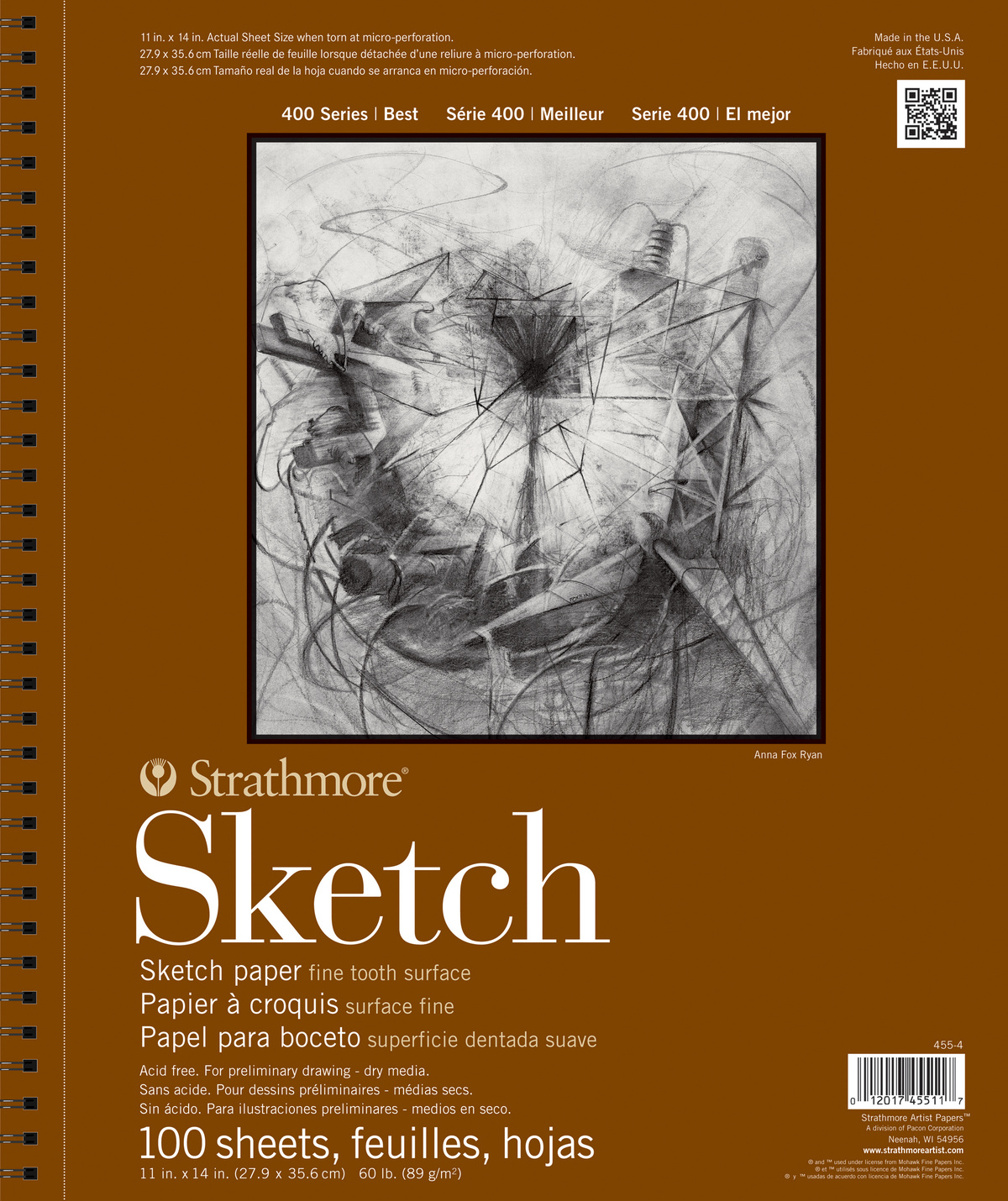Strathmore® 400 Series 100 Sheets 11\u0027\u0027x14\u0027\u0027 Wire Bound Sketch Pad