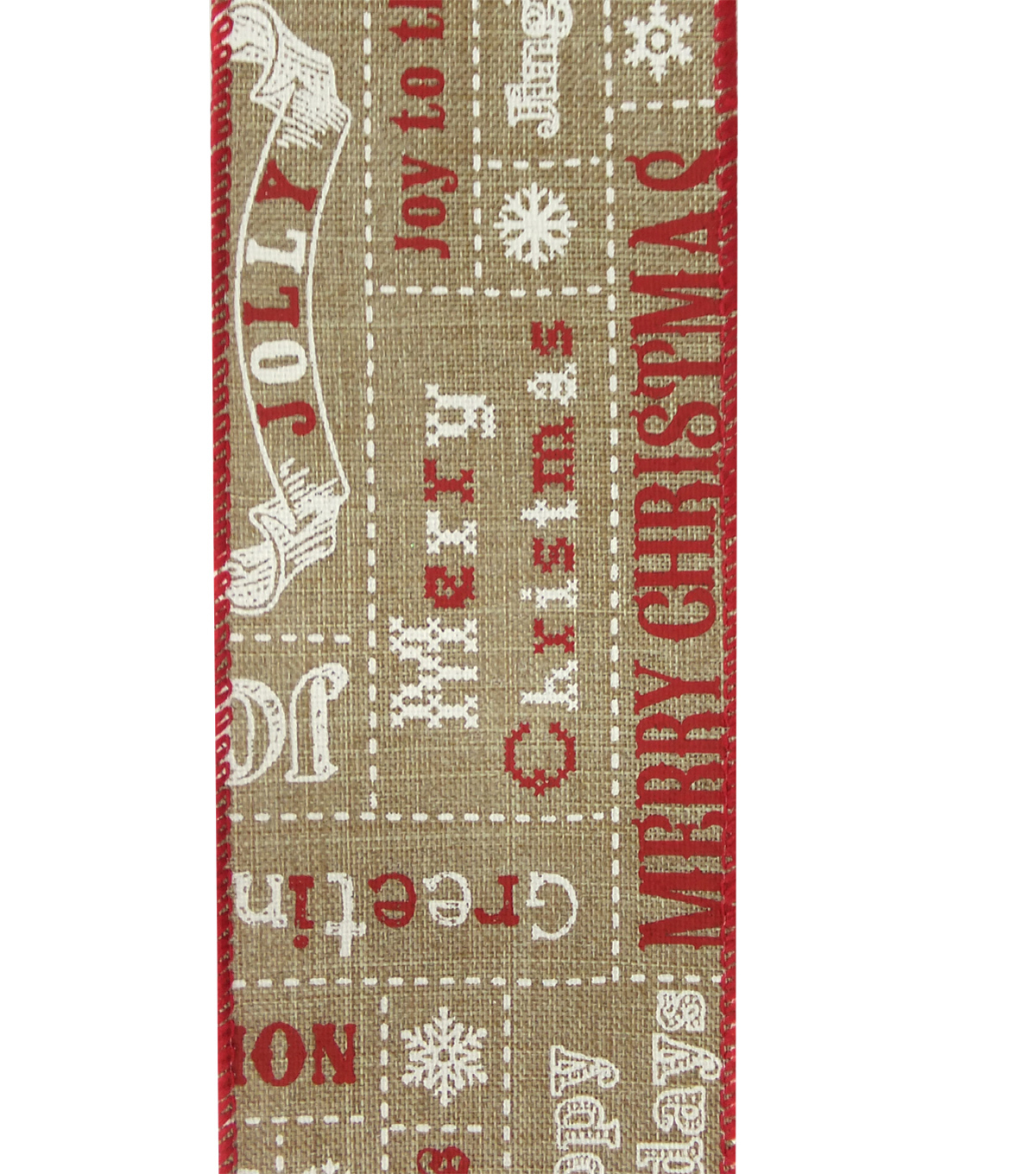 Maker\u0027s Holiday Christmas Linen Ribbon 2.5\u0027\u0027x25\u0027-Words on Natural