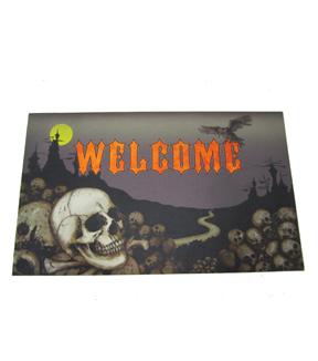Maker's Halloween Welcome Doormat-Skull & Crow