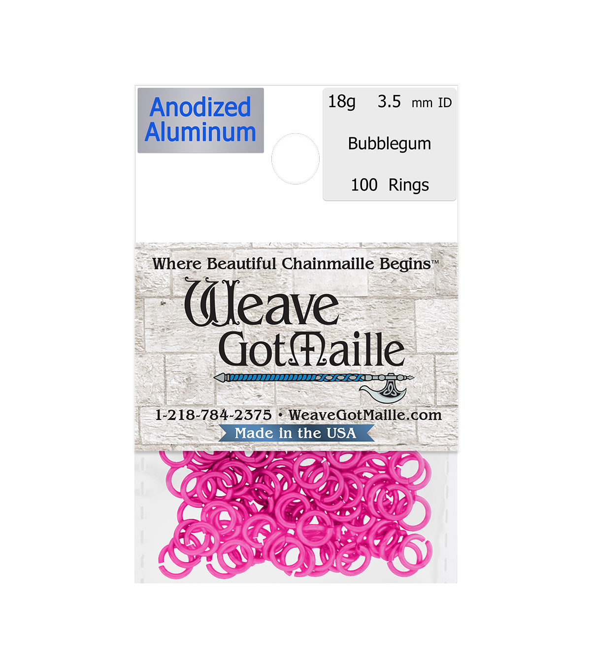 Weave Got Maille Pack of 100 3.5 mm Jump Rings-Bubblegum