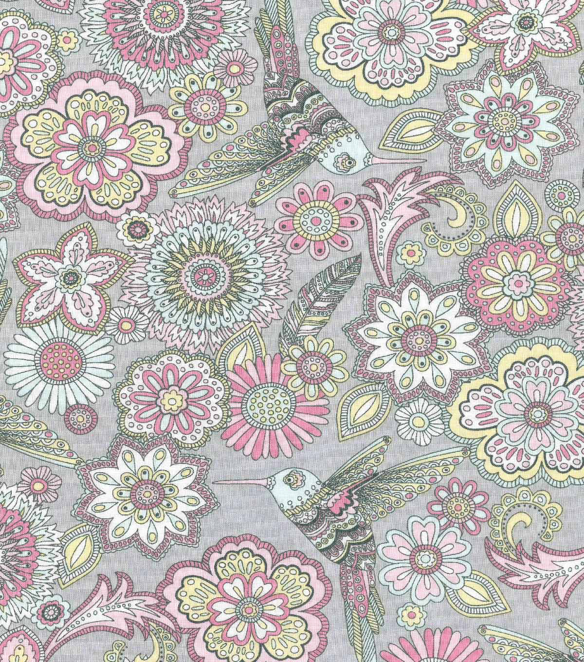 Keepsake Calico Cotton Fabric-Poppy Birds & Floral