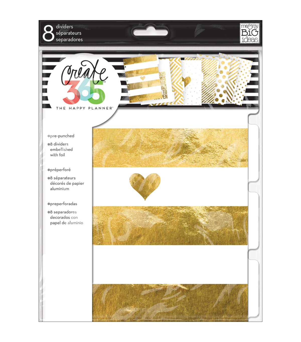 Me & My Big Ideas® Create 365 8pcs Dividers-Gold