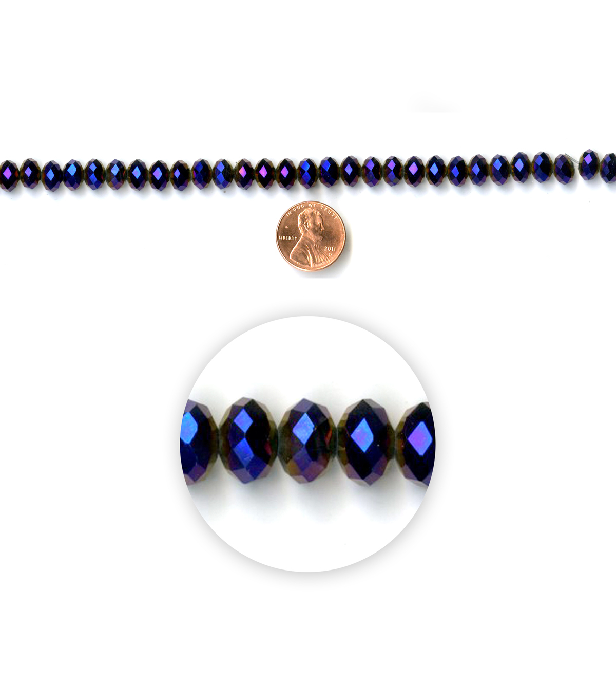 Blue Moon Strung Machine Cut Crystal Beads,Rondelle,Purple,Facetted