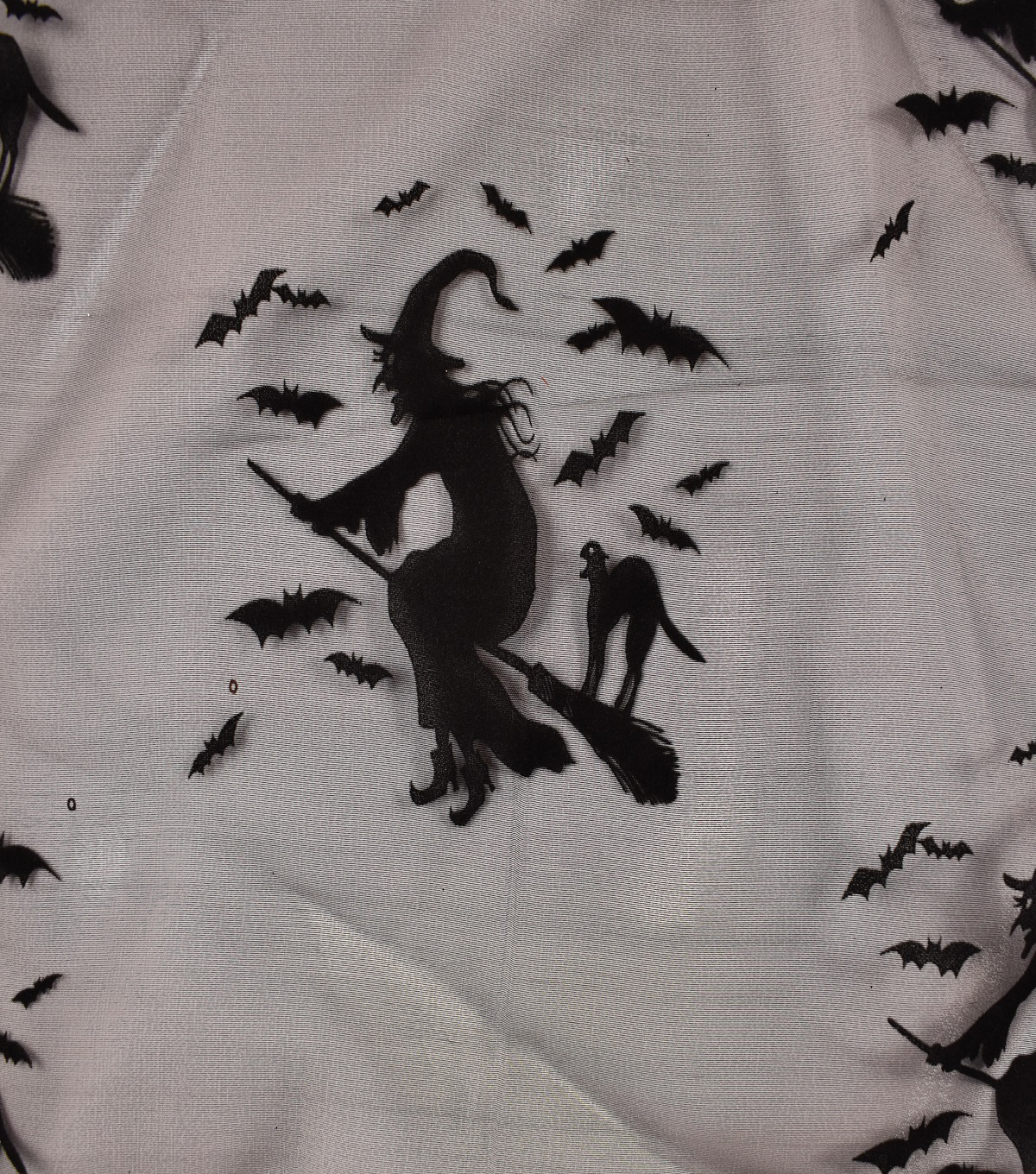 The Witching Hour Organza Fabric 56\u0022-Scroll Bats Witches