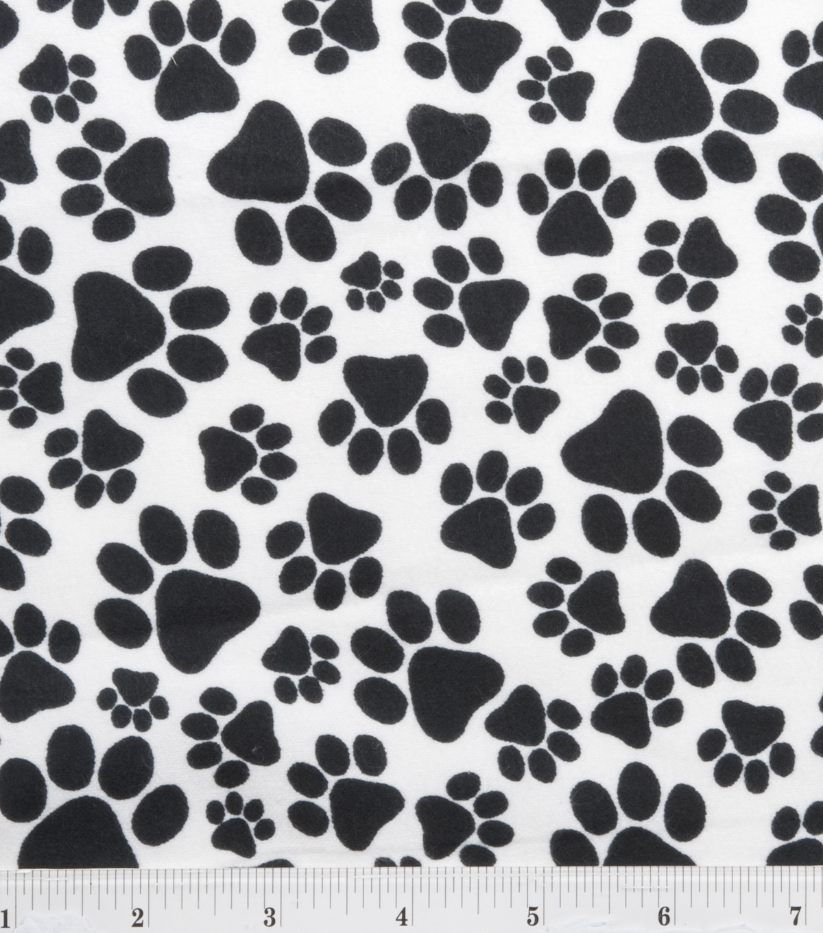 "Snuggle Flannel Fabric 42""-Paws Black"