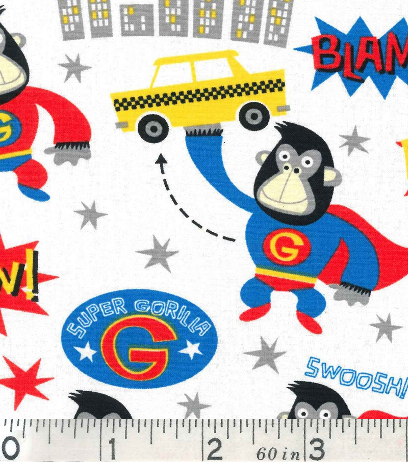 "Novelty Cotton Fabric 43""-Super Gorilla"