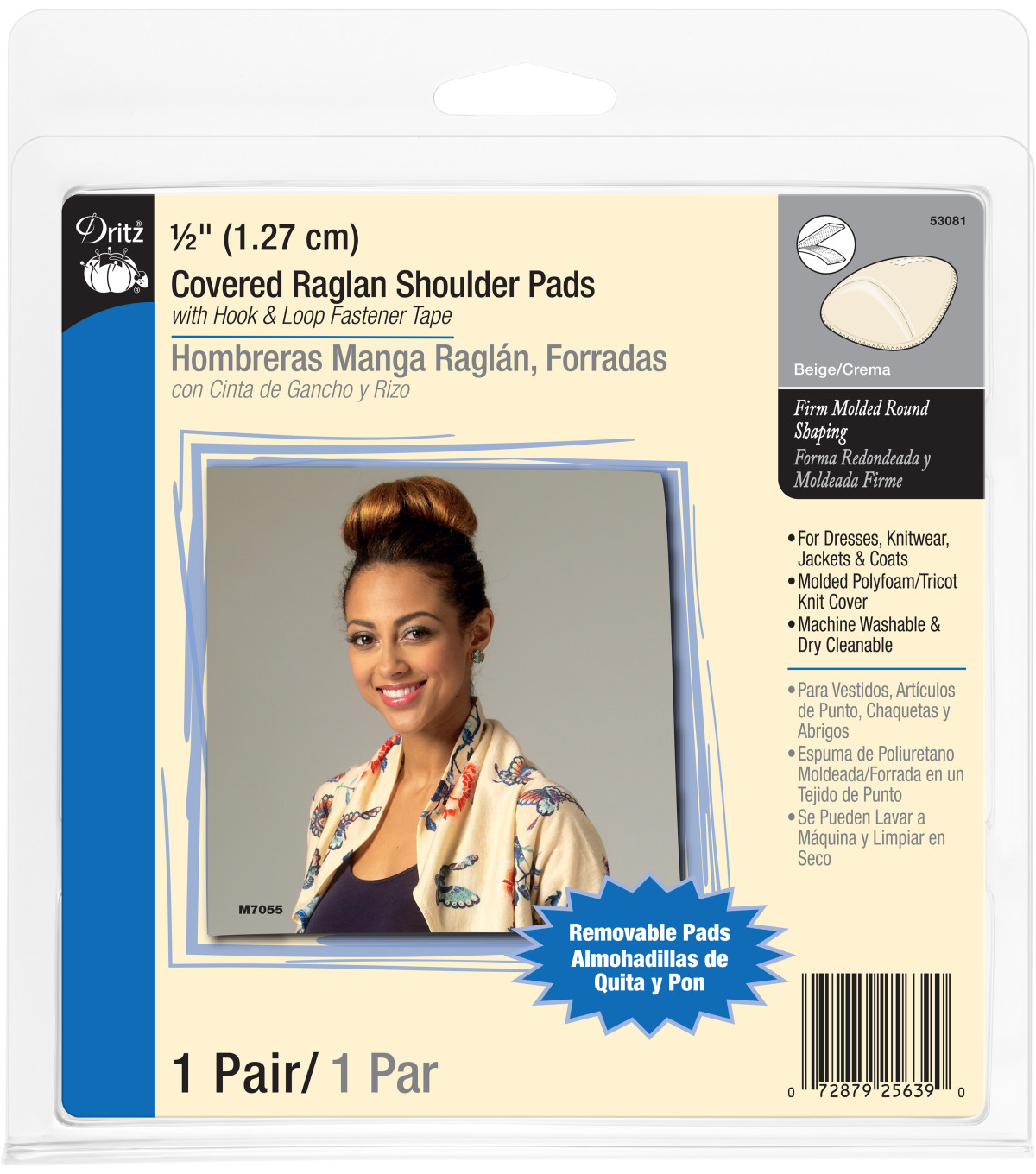 Dritz 1/2\u0022 Covered Raglan Shoulder Pads