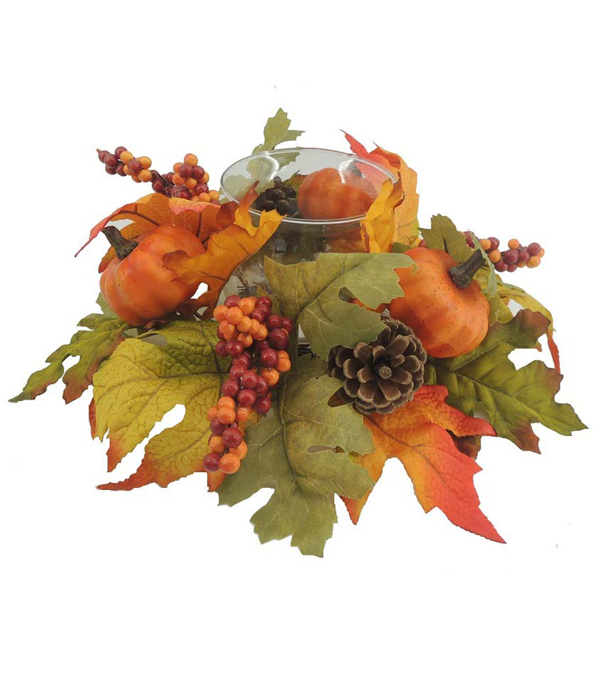 Blooming Autumn 10\u0027\u0027 Pumpkin, Pinecone & Berries Candle Holder-Orange