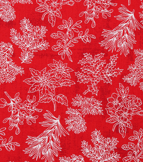 "Christmas Cotton Fabric 43""-Pine Branches Red Tonal"