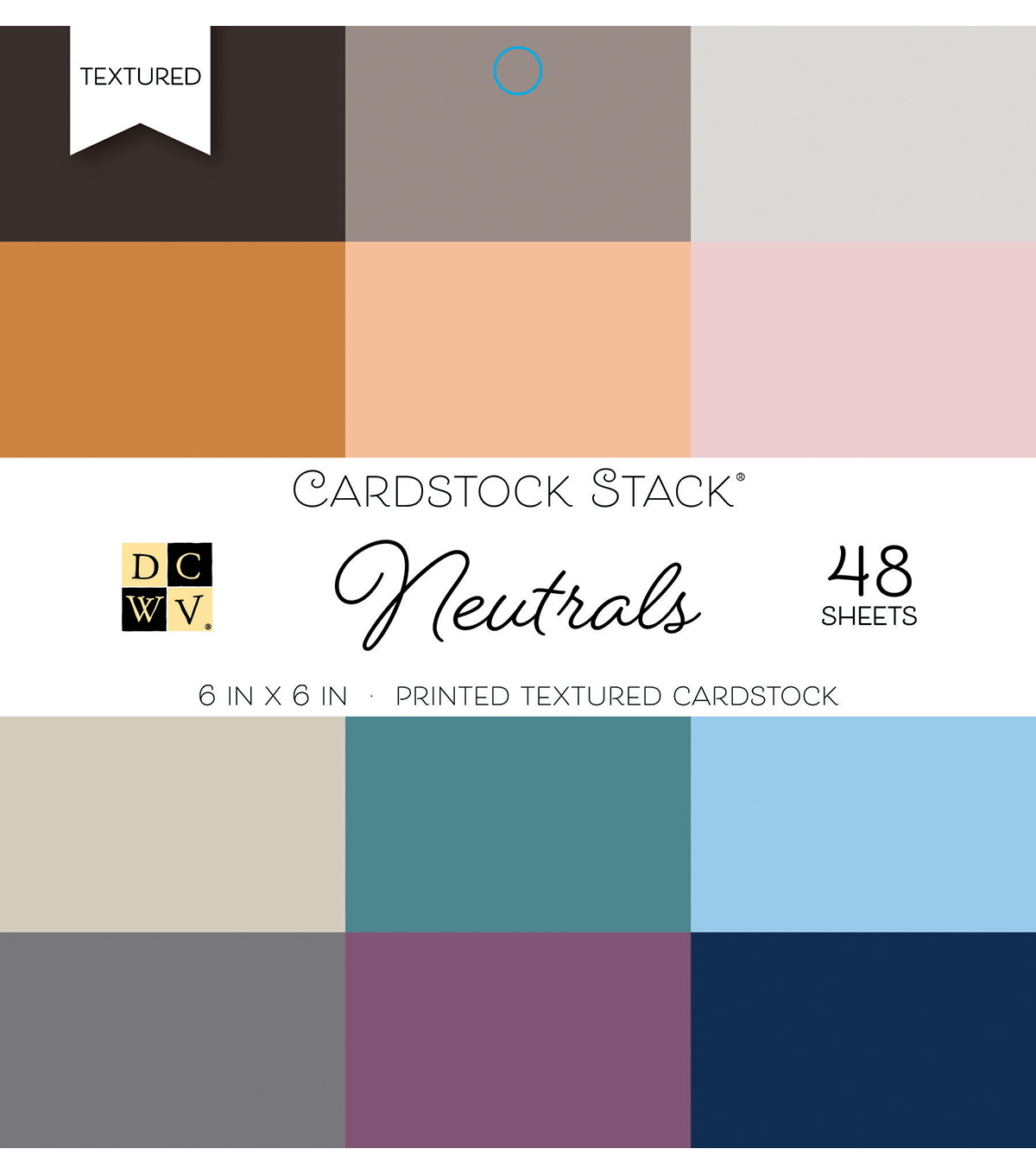 DCWV Pack of 48 6''x6'' Printed Textured Cardstock Stack-Neutrals