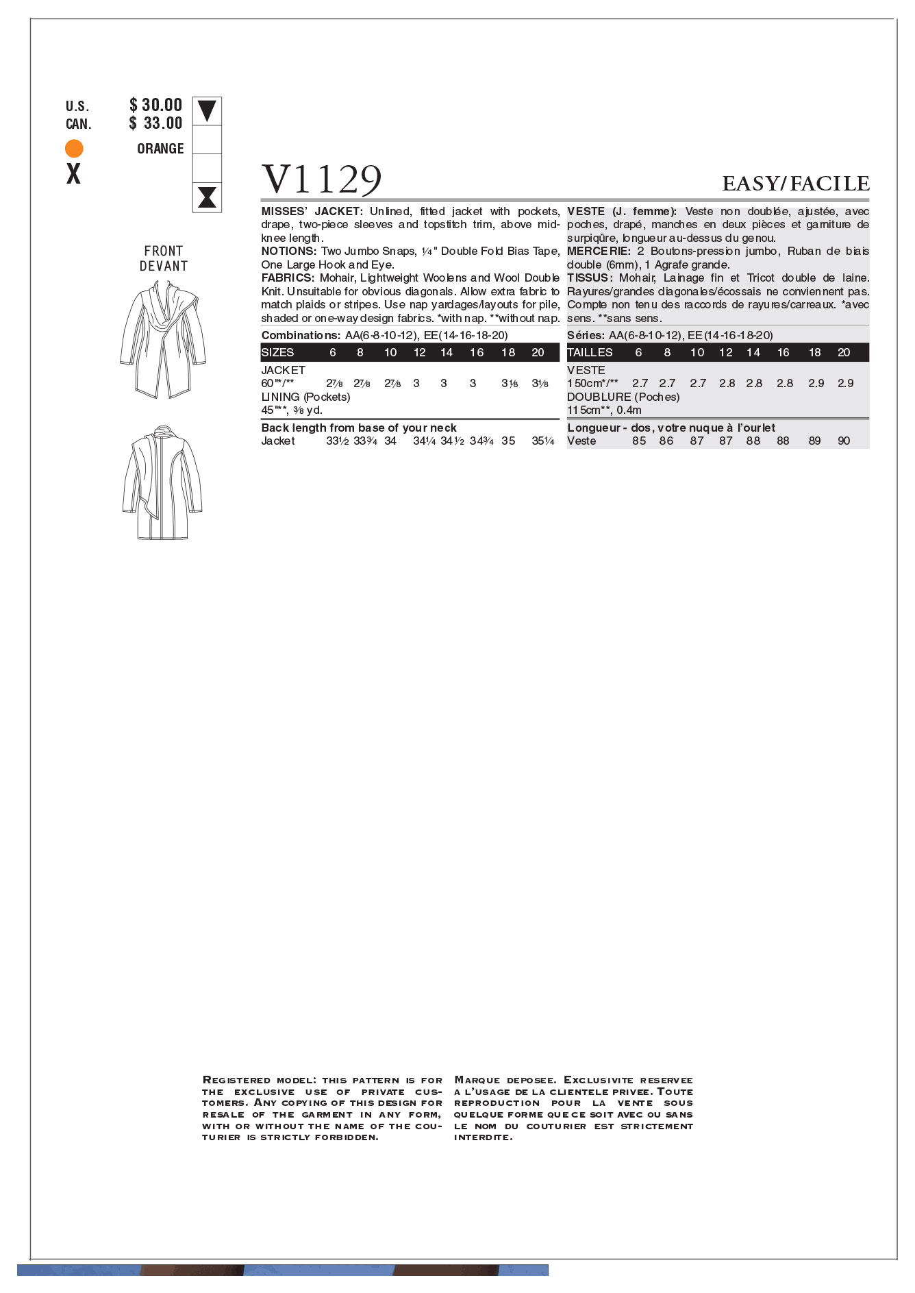 Mccall Pattern V1129 Ee (14-16--Vogue Pattern