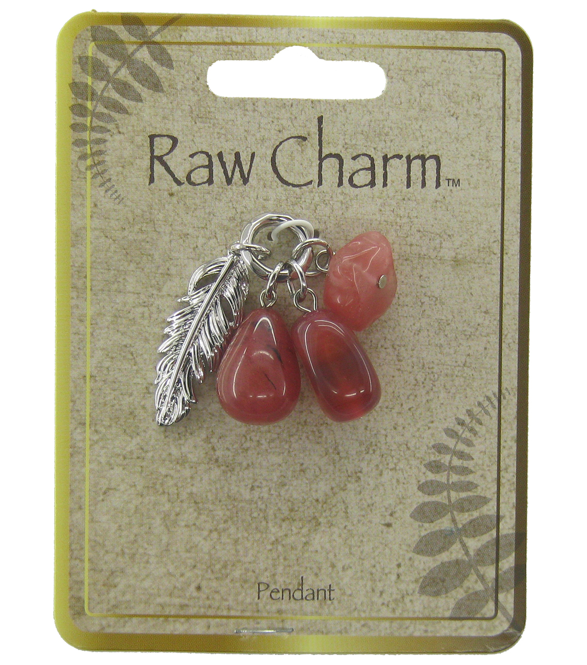Naturals Raw Charm Pink Feather Tassel