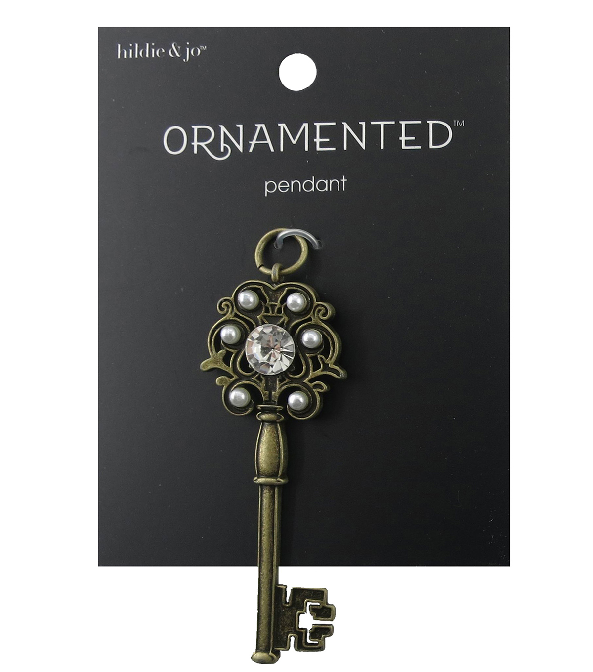 hildie & jo™ Ornamented Key Antique Gold Pendant-Crystal & Pearls