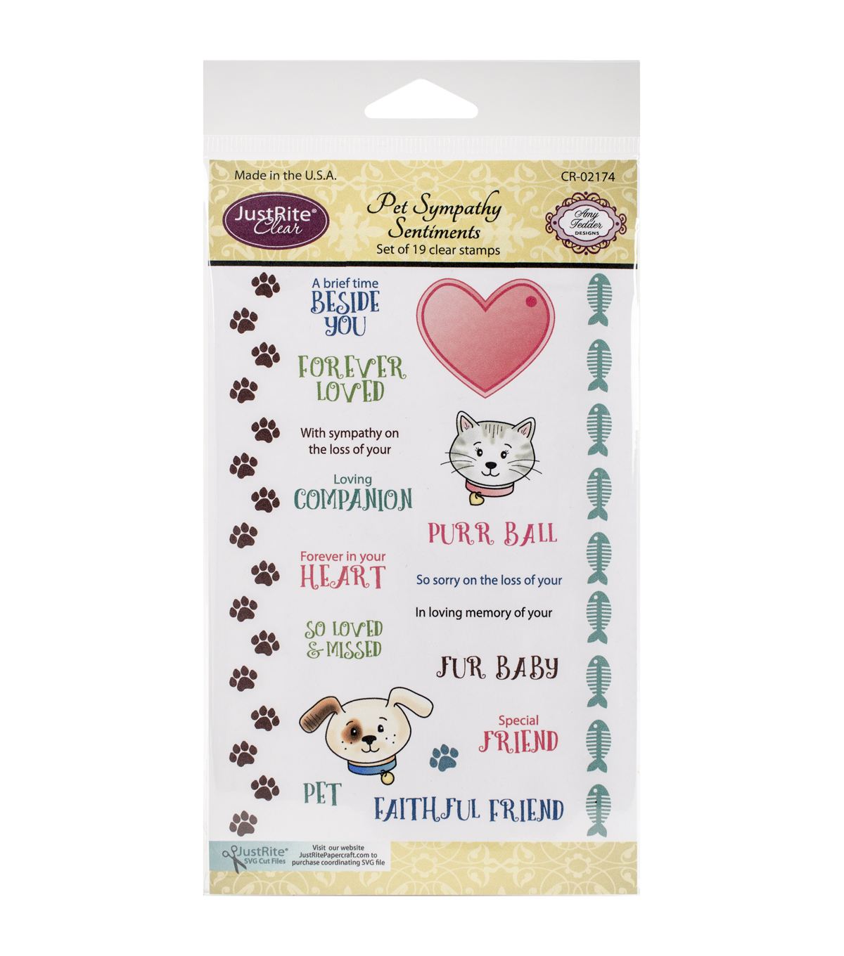 JustRite Papercraft Pet Sympathy Sentiments Clear Stamp