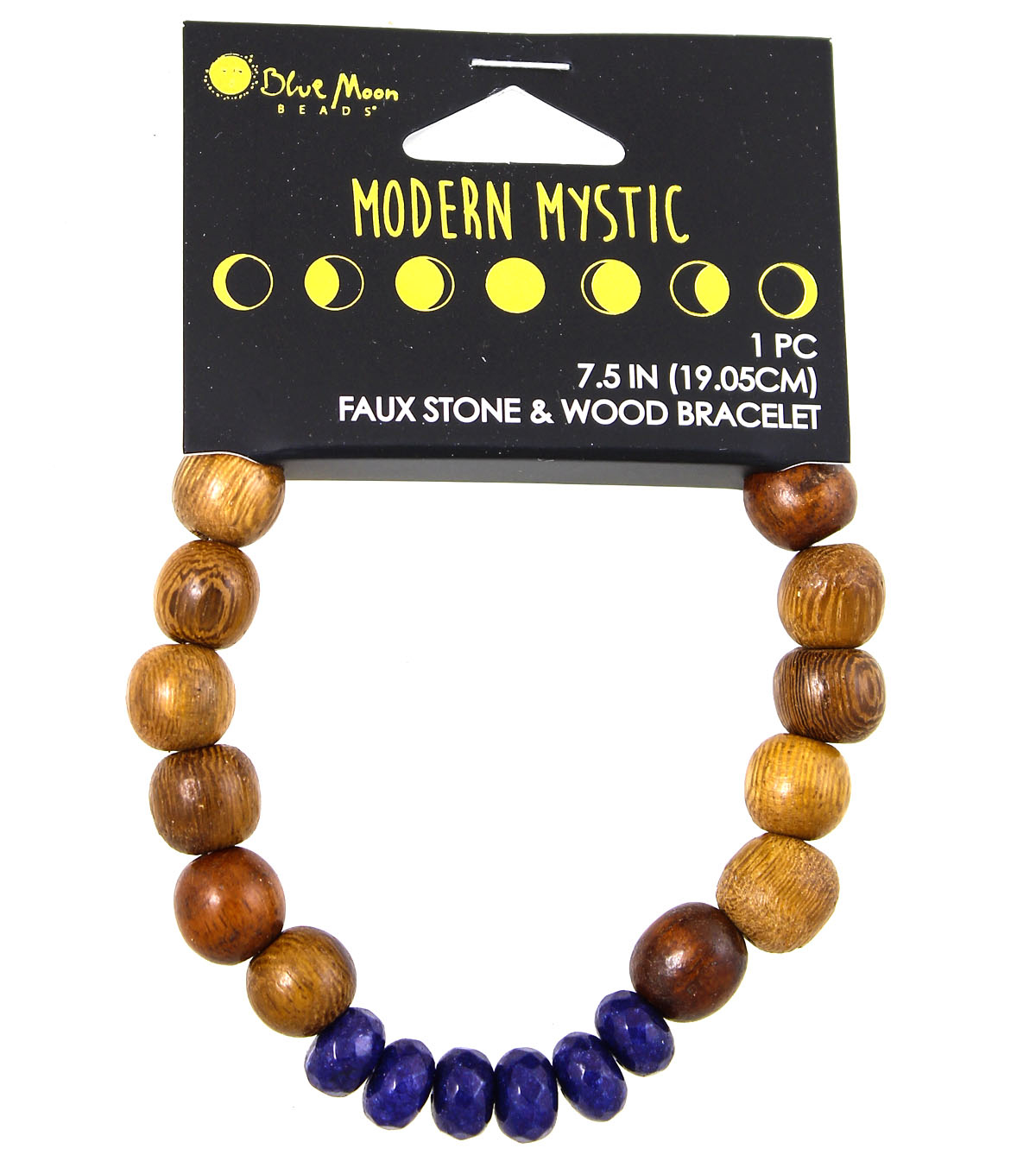 Blue Moon Beads® Modern Mystic Faux Blue Stone & Wood Bracelet