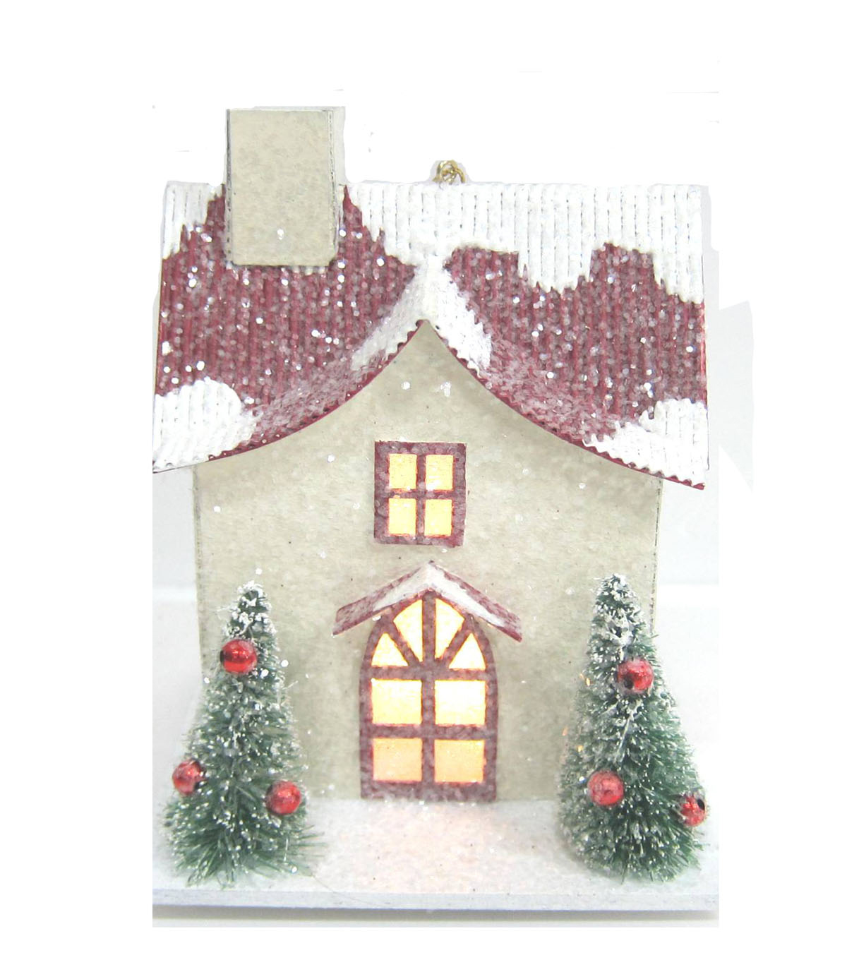 Maker\u0027s Holiday White LED House with Red Roof