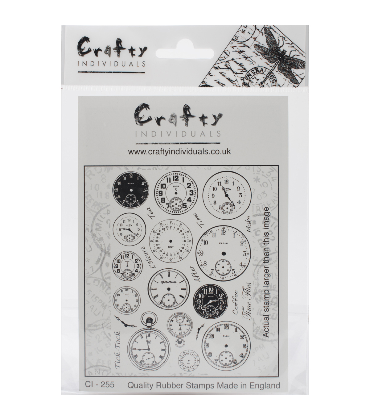 Crafty Individuals Tick Tock Clock Faces Unmounted Rubber Stamp