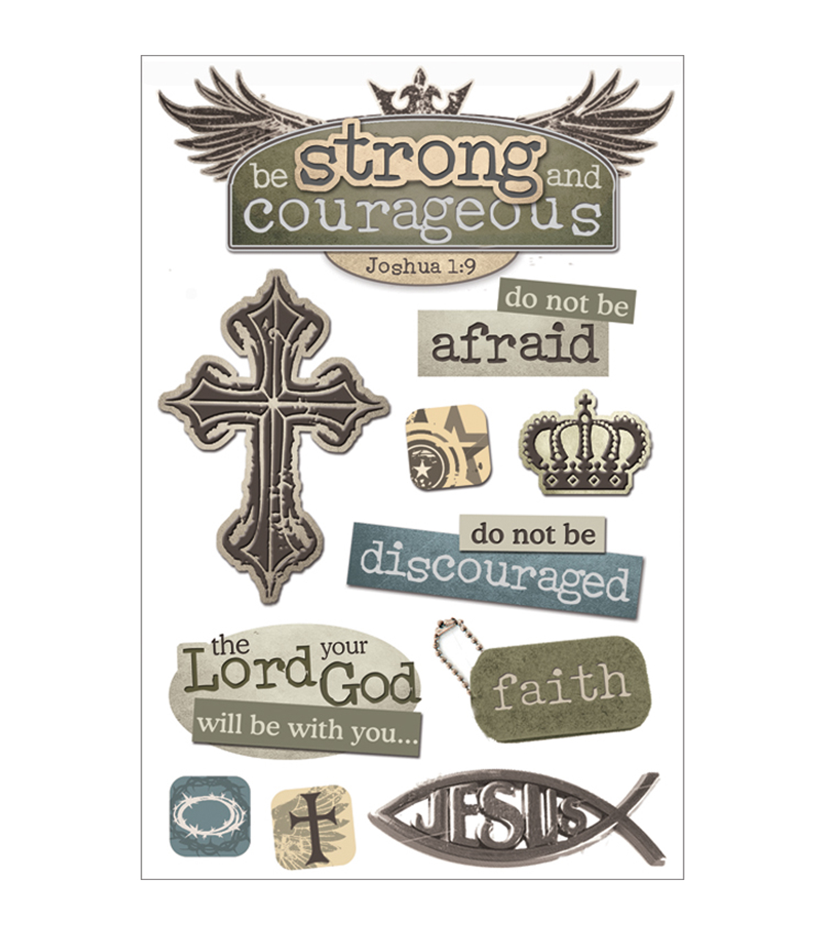 Paper House 3D Stickers -Strong and Courageous
