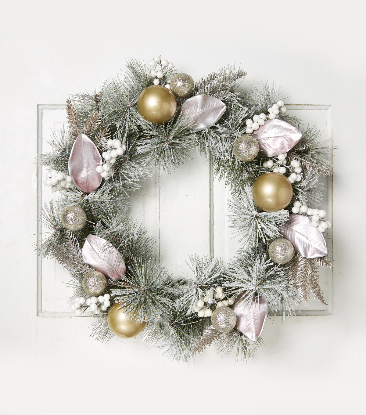 Blooming Holiday 24\u0027\u0027 Magnolia Leaves & Berry Wreath-Pink