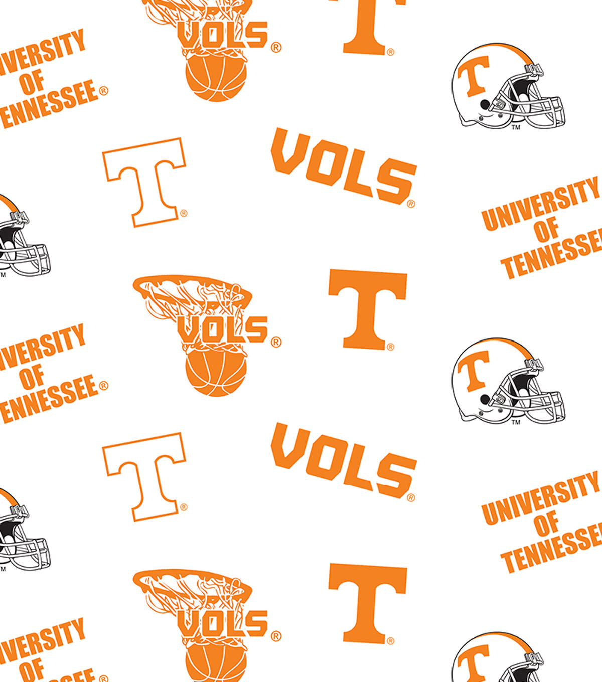 University of Tennessee Volunteers Cotton Fabric 44\u0022-White All Over