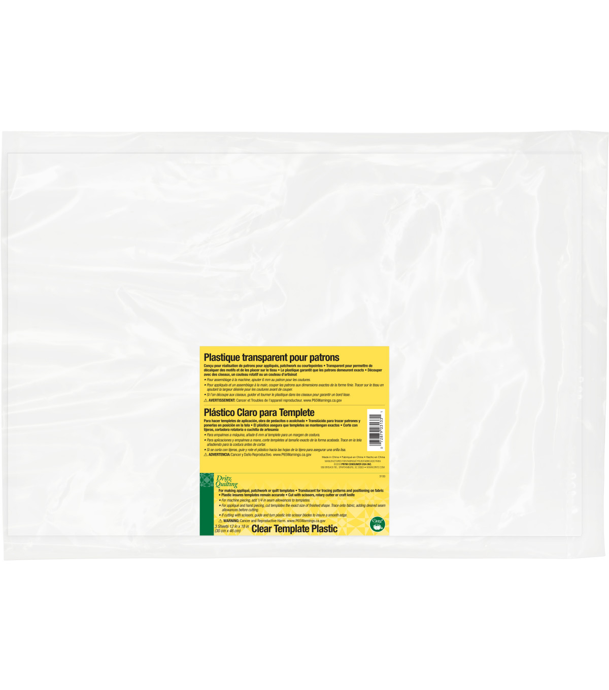 Dritz Quilting 12\u0022 x 18\u0022 Template Plastic Value Pack 3 Sheets