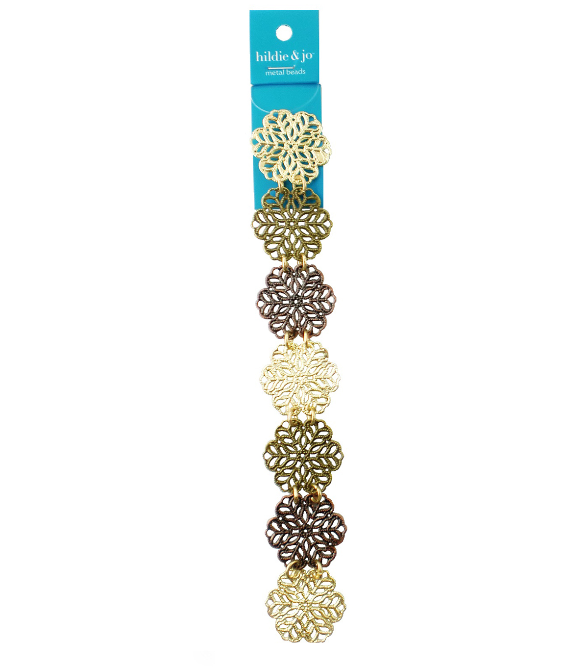 hildie & jo™ 7\u0027\u0027 Open Snowflake Strand-Gold, Antique Gold & Brass
