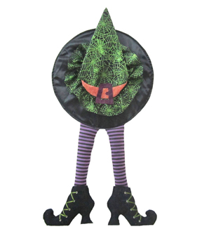 Maker's Halloween Witch Hat & Legs Door Greeter