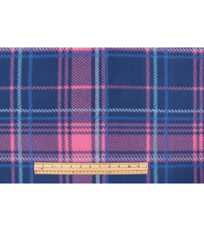 Blizzard Fleece Fabric-Aspen Pink Navy Plaid