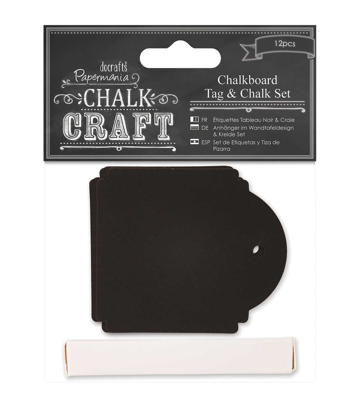 Papermania Chalk Craft Square Chalkboard Tag & Chalk Set