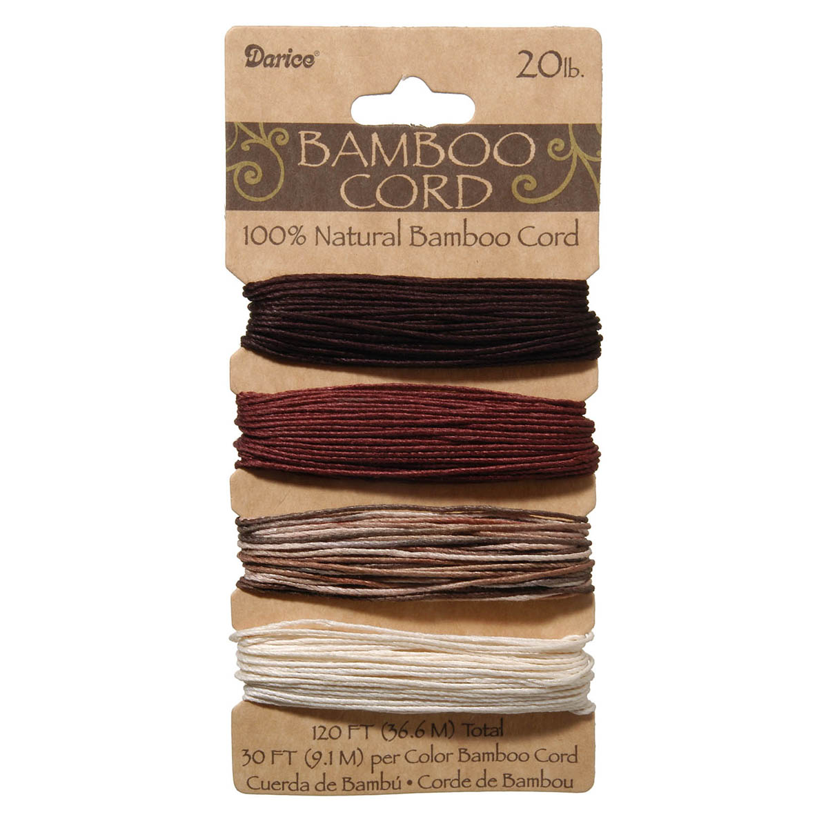Natural Bamboo Cord, Earthy Colors, 120ft. 20lb.