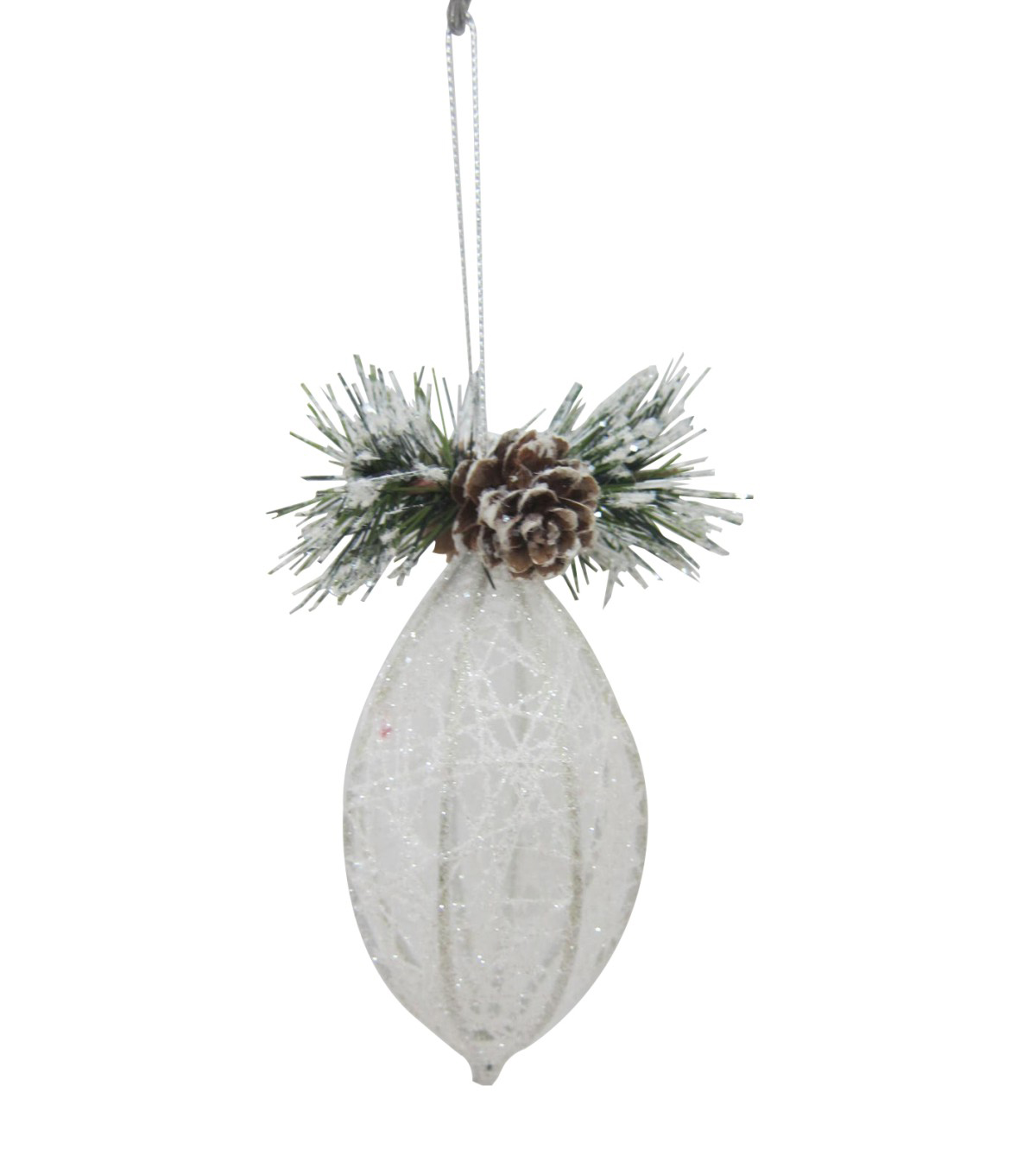 Maker's Holiday Christmas Arctic Frost Oval Crystal Ornament-White