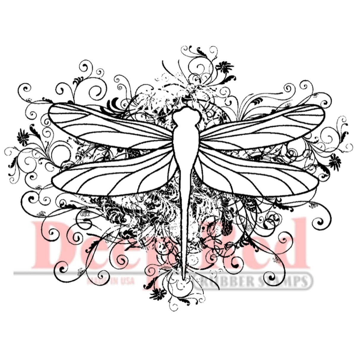 Deep Red Stamps Cling Stamp Dragonfly Flourish
